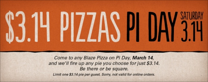 Blaze's $3.14 Pi Day Pizza