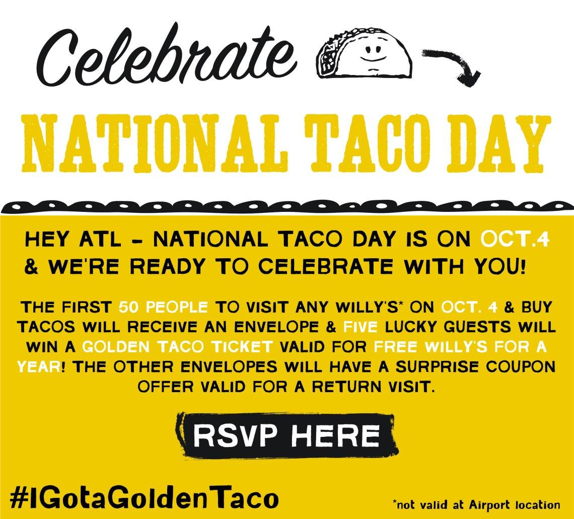 National Taco Day - Willy's Mexicana Grill